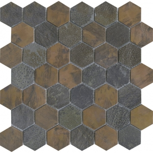 L'Antic Colonial Worn Hexagon Copper mozaika kamień i metal 30x30,5