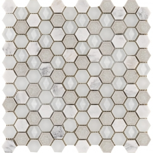L'Antic Colonial Aura Hexagon Whites mozaika marmur i szkło 29x30